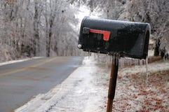 Eisige landwirtschaftliche Mailbox Stockfotografie