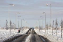 Schnee auf Straße Lizenzfreie Stockfotografie