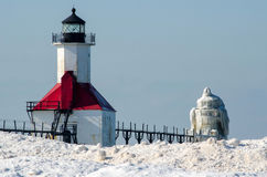 Eisiger Leuchtturm St Joseph Stockfotografie