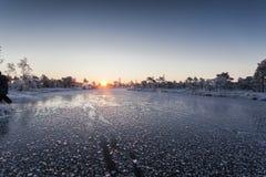 Eisiger Morgen an der Waldlandschaft mit den gefrorenen Anlagen, den Bäumen und Wasser Stockfoto
