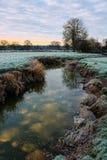 Eisiger Morgen, Flussreflexion Stockbilder