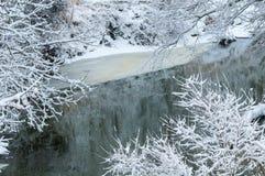 Eisiger Nebenfluss im Winter Stockbild
