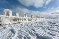 Eisiger Pier Stockfotografie