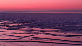 Eisiger Sonnenuntergang Stockfotografie