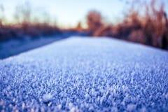 Eisiger Untergrund auf einem kalten Morgen stockfotos