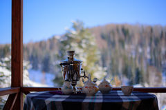 Eisiger Wintertag des Tees Stockfoto