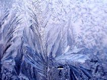 Eisiges aufwändiges Muster des dünnen Eises auf dem Fenster Lizenzfreie Stockfotografie