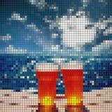 Eisiges Glas Bier, Meer, Mosaikvektor Stockbilder