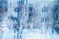 Eisiges Muster auf dem Fenster Schöner natürlicher Hintergrund Abbildung kann als Hintergrund benutzt werden Nahaufnahme Stockfoto