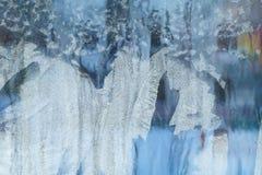 Eisiges Muster auf dem Fenster Schöner natürlicher Hintergrund Abbildung kann als Hintergrund benutzt werden Nahaufnahme Stockfotos