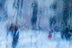 Eisiges Muster auf dem Fenster Schöner natürlicher Hintergrund Abbildung kann als Hintergrund benutzt werden Nahaufnahme Stockfotografie
