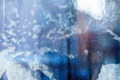 Eisiges Muster auf dem Fenster Schöner natürlicher Hintergrund Abbildung kann als Hintergrund benutzt werden Nahaufnahme Stockbild