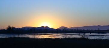 Eisiges Sumpfland am Sonnenaufgang Stockfotos