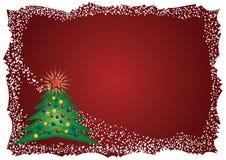 Eisiges Weihnachtsbaumfeld auf rotem Hintergrund Lizenzfreies Stockbild