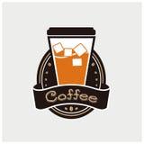 Eiskaffeeikonen Vektor und Illustration Lizenzfreie Stockbilder