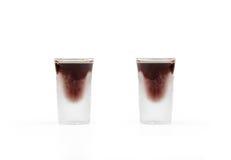 Eiskalte Schüsse des Alkohols stockfotografie