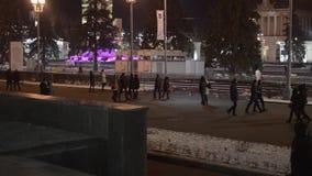 Eislaufeisbahn in Moskau, im November 2015 stock footage