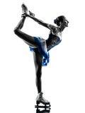 Eislaufschattenbild des Fraueneisschlittschuhläufers Stockfotos