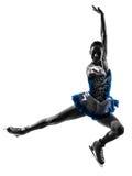 Eislaufschattenbild des Fraueneisschlittschuhläufers Stockfotografie