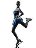Eislaufschattenbild des Fraueneisschlittschuhläufers Stockbilder