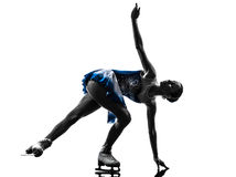 Eislaufschattenbild des Fraueneisschlittschuhläufers Stockbild