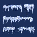 Eisschilder mit Eiszapfen Stockfotos