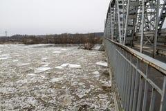 Eisscholle auf dem Fluss im Winter, PuÅ-'awy, Polen, 02 2012 Stockbild