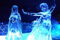 Eisskulptur der Disney gefrorenen Karikatur lizenzfreie stockbilder