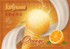 Eistüte mit orange Weinlesewerbung Stockfotos