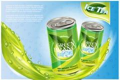 Eistee-Produktanzeige Abbildung des Vektor 3d Aluminiumdosenschablonendesign des alkoholfreien Getränkes Flaschenanzeige des grün Stockbilder