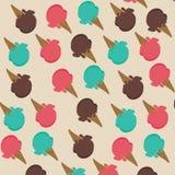 Eistüte mit Erdbeersorbett, Minze und Schokoladenrückseite Stockfoto