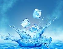 Eiswürfel, die in das Wasser lokalisiert auf einem weißen Hintergrund fallen Lizenzfreie Stockbilder