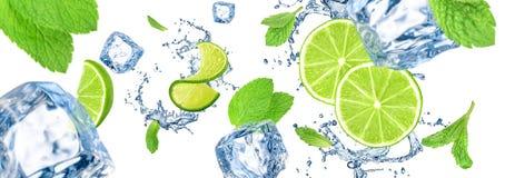 Eiswürfel-, Kalk- und Wasserspritzen lizenzfreie abbildung