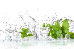 Eiswürfel und -Spritzwasser lizenzfreie stockfotografie