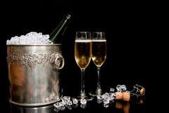 Eiswanne und Champagner Stockbilder