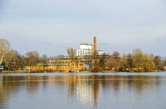 Eiswerde wyspa z fajerwerkami laboranckimi w Berlin, Niemcy Obraz Royalty Free