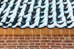 Eiszapfen auf dem Dach eines alten niederländischen Bauernhofes stockbilder