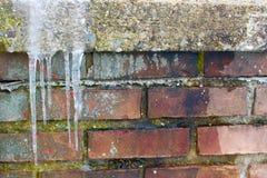 Eiszapfengruppe auf Ziegelsteinkrummem rücken Lizenzfreie Stockfotografie
