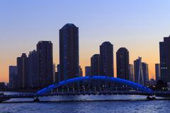 Eitai bridge and Okawabata Rivercity 21 in Tokyo at dusk Stock Image