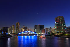 Eitai bridge and Okawabata Rivercity 21 in Tokyo at dusk Royalty Free Stock Photos