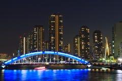Eitai most Rivercity 21 w Tokio przy półmrokiem i Okawabata Obraz Stock