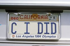Eitelkeits-Kfz-Kennzeichen - Kalifornien Stockfoto