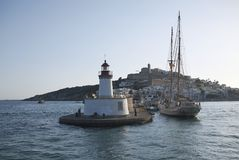 Eivissa港口灯塔 库存照片