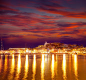 Eivissa Ibiza πόλη κεντρικός στο ηλιοβασίλεμα σε κάτοικο των Βαλεαρίδων νήσων Στοκ Εικόνες