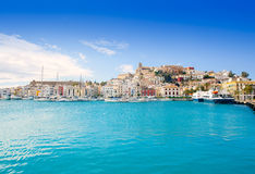 Eivissa Ibiza town with church under blue sky Royalty Free Stock Photography