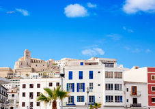 Eivissa Ibiza town with church under blue sky Royalty Free Stock Photos