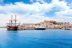 Eivissa ibiza town with old classic wooden boat. Eivissa ibiza town with old classic wooden corsair boat Royalty Free Stock Image