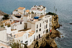 Eivissa old city. View of old city of Eivissa (Ibiza), whose houses are built on a spur of rock at the entrance of the port royalty free stock photo