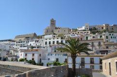 Eivissa old city. View of the old citadel in eivissa harbor stock image