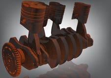 Eixo de manivela oxidado em um cinza motor imagem de stock royalty free
